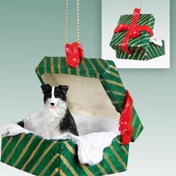Border Collie Green Gift Box Christmas Ornament