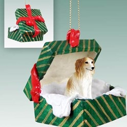 Borzoi Green Gift Box Christmas Ornament