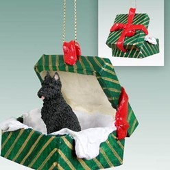 Bouvier Green Gift Box Christmas Ornament