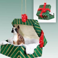 Boxer Green Gift Box Christmas Ornament