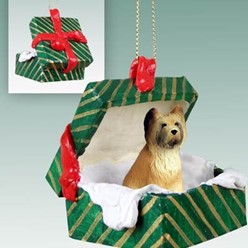 Briard Green Gift Box Christmas Ornament