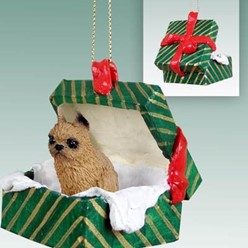 Brussels Griffon Green Gift Box Christmas Ornament