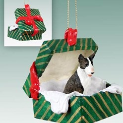 Bull Terrier Green Gift Box Christmas Ornament