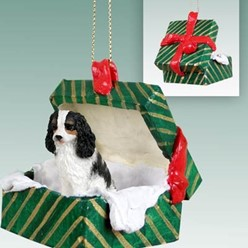 Cavalier King Charles Green Gift Box Christmas Ornament