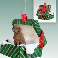Chesapeake Bay Retriever Green Gift Box Christmas Ornament