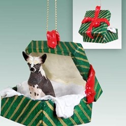Chinese Crested Green Gift Box Christmas Ornament