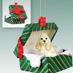 Cocker Spaniel Green Gift Box Christmas Ornament