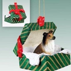 Collie Green Gift Box Christmas Ornament