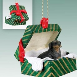 Dachshund Green Gift Box Christmas Ornament