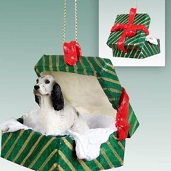 English Setter Green Gift Box Christmas Ornament