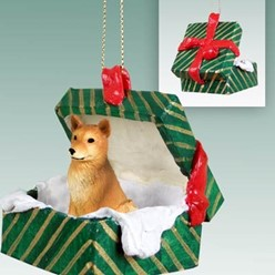 Finnish Spitz Green Gift Box Christmas Ornament