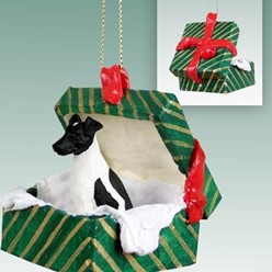 Smooth Fox Terrier Green Gift Box Christmas Ornament