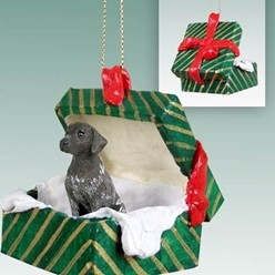 German Shorthaired Pointer Green Gift Box Christmas Ornament