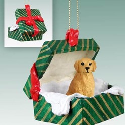 Golden Retriever Green Gift Box Christmas Ornament