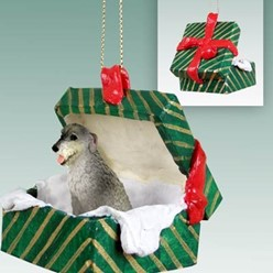 Irish Wolfhound Green Gift Box Christmas Ornament