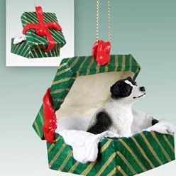 Jack Russell Terrier Green Gift Box Christmas Ornament