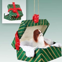 Japanese Chin Green Gift Box Christmas Ornament