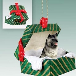 Keeshond Green Gift Box Christmas Ornament