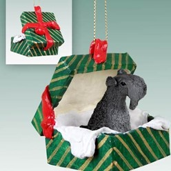 Kerry Blue Terrier Green Gift Box Christmas Ornament