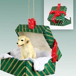 Labrador Retriever Green Gift Box Christmas Ornament