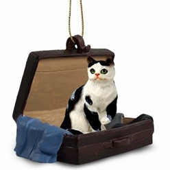 Black and White Cat Traveling Companion Ornament