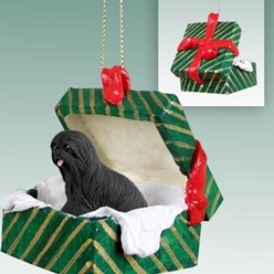 Lhasa Apso Green Gift Box Christmas Ornament