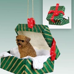 Norfolk Terrier Green Gift Box Christmas Ornament