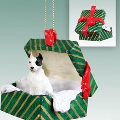 Pit Bull Green Gift Box Christmas Ornament