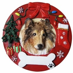 Collie Christmas Ornament That Can Be Personalized