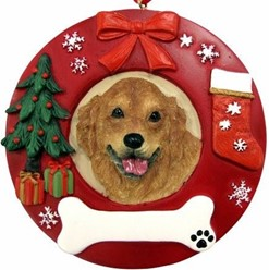 Golden Retriever Wreath Christmas Ornament That Can Be Personalized