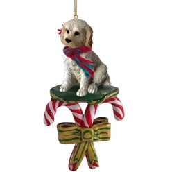 Candy Cane Labradoodle Christmas Ornament- click for more breed colors