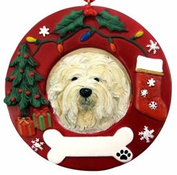 Lhasa Apso Wreath Christmas Ornament That Can Be Personalized