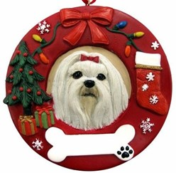 Maltese Wreath Christmas Ornament That Can Be Personalized