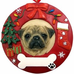 Pug Wreath Christmas Ornament That Can Be Personalized