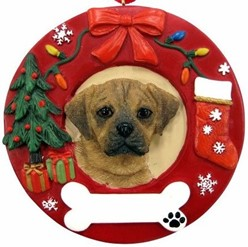 Puggle Wreath Christmas Ornament That Can Be Personalized