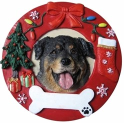Rottweiler Wreath Christmas Ornament That Can Be Personalized