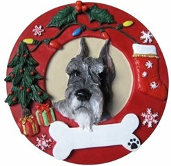 Schnauzer Wreath Christmas Ornament That Can Be Personalized