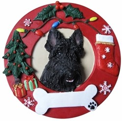 Scottish Terrier Wreath Christmas Ornament That Can Be Personalized