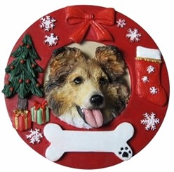 Shetland Sheepdog Wreath Christmas Ornament That Can Be Personalized