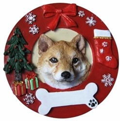 Shiba Inu Wreath Christmas Ornament That Can Be Personalized