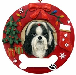 Shih Tzu Wreath Christmas Ornament That Can Be Personalized