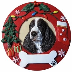Springer Spaniel Wreath Christmas Ornament That Can Be Personalized
