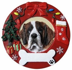 Saint Bernard Wreath Christmas Ornament That Can Be Personalized