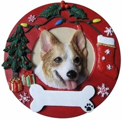 Welsh Corgi Wreath Christmas Ornament That Can Be Personalized