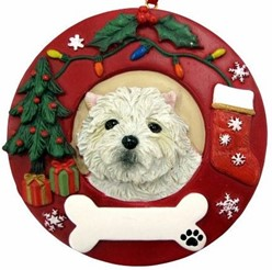 Westie Wreath Christmas Ornament That Can Be Personalized