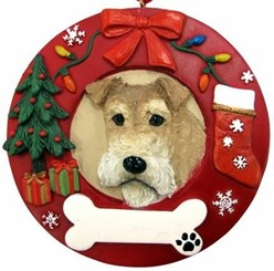 Wire Fox Terrier Wreath Christmas Ornament That Can Be Personalized