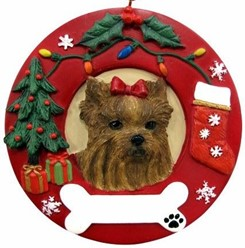Yorkshire Terrier Wreath Christmas Ornament That Can Be Personalized