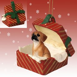 Puggle Gift Box Christmas Ornament