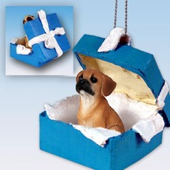 Puggle Gift Box Holiday Ornament