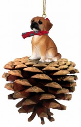 Pine Cone Puggle Dog Christmas Ornament